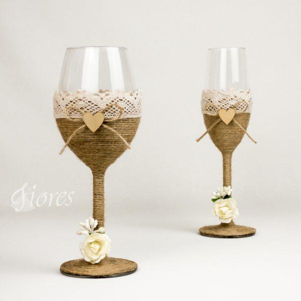 """Vintage svadobné poháre """"Rose"""""""
