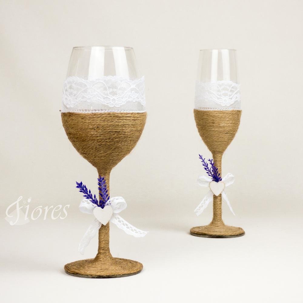 """Vintage svadobné poháre """"Vôňa levandule"""""""