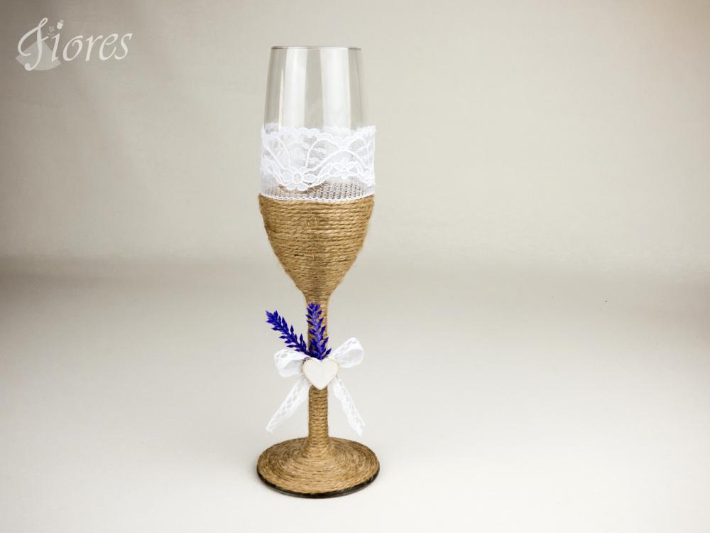 """Vintage svadobné poháre """"Vôňa levandule"""" 2"""