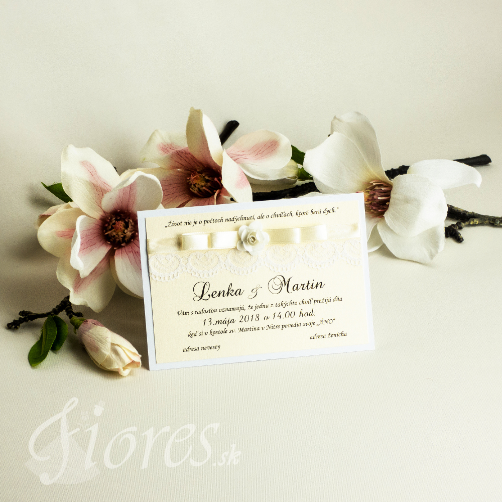"""Svadobné oznámenie """"Odvaha milovať"""" kvet"""