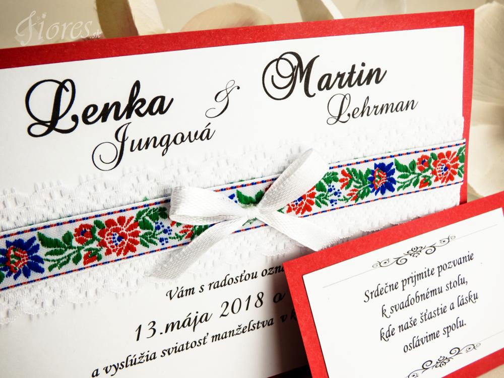 """Svadobné oznámenie """"Veselosť"""" červená Detail 2"""