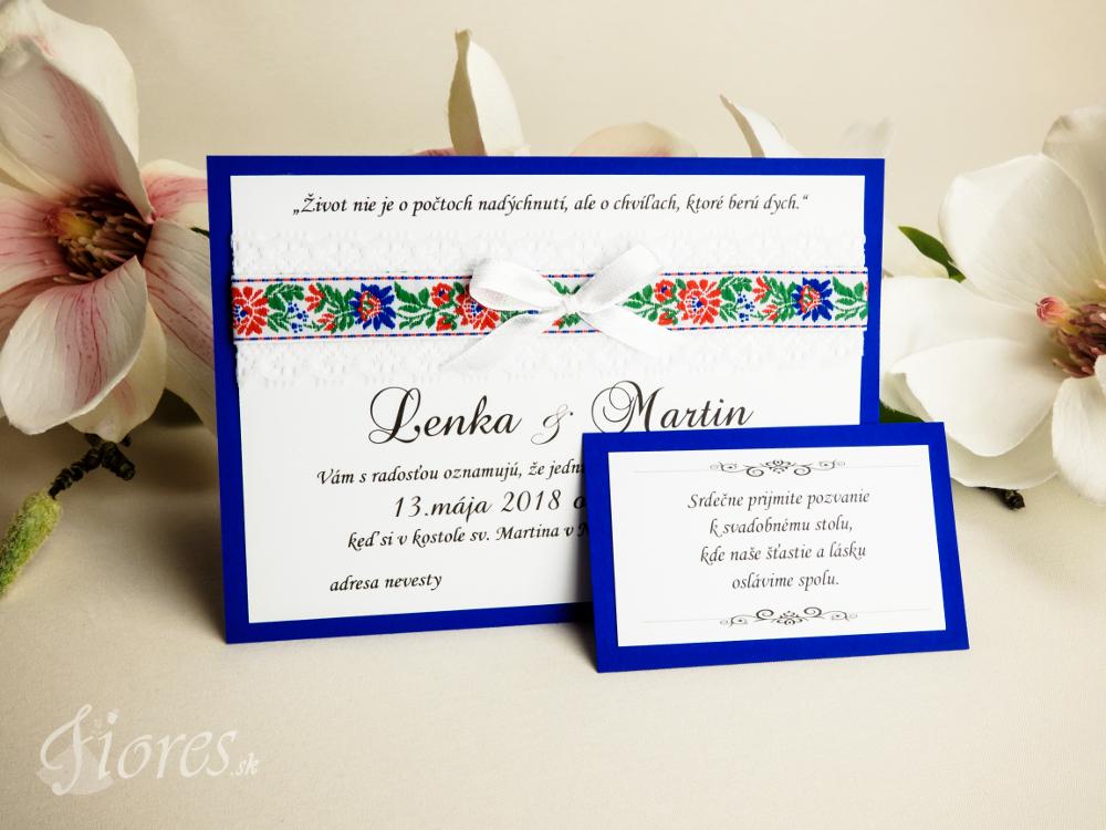 """Svadobné oznámenie """"Veselosť"""" modrá Detail"""