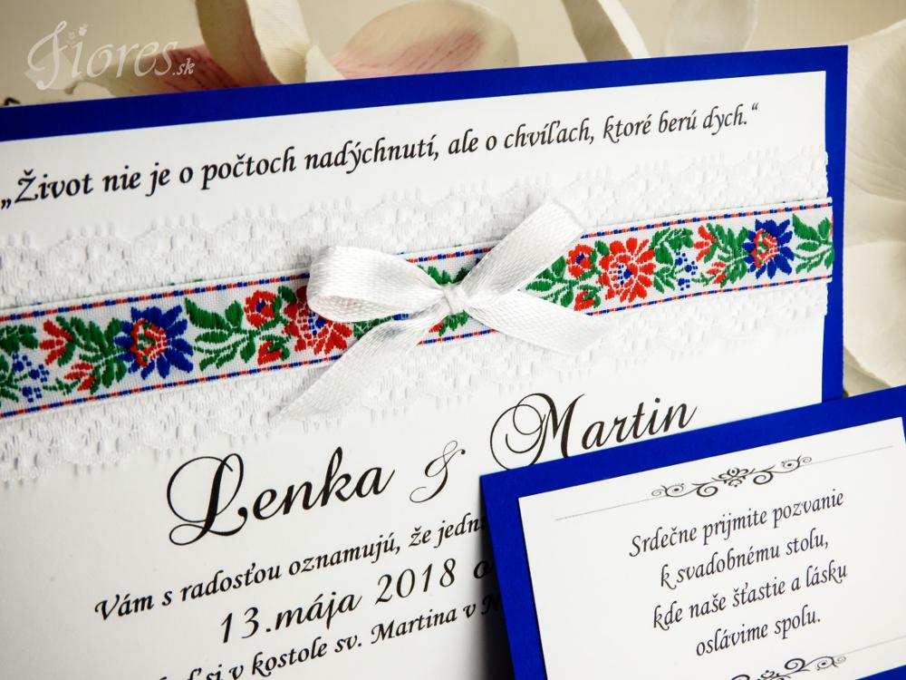 """Svadobné oznámenie """"Veselosť"""" modrá Detail 2"""