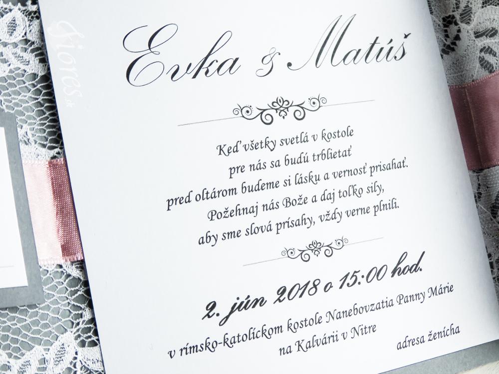 """Svadobné oznámenie """"Sivá vášeň"""" Detail 4"""