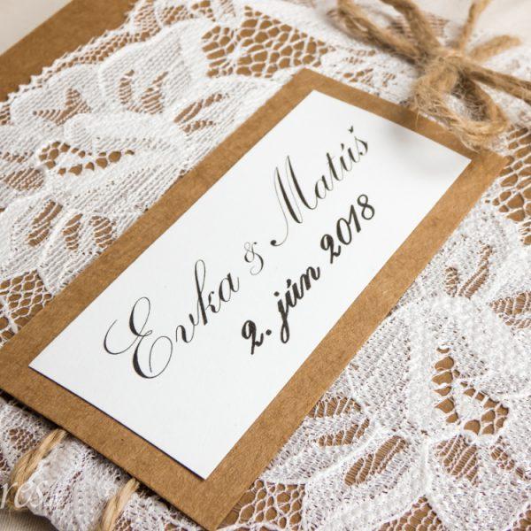 """Svadobné oznámenie """"Podmanivá čipka"""" Detail"""