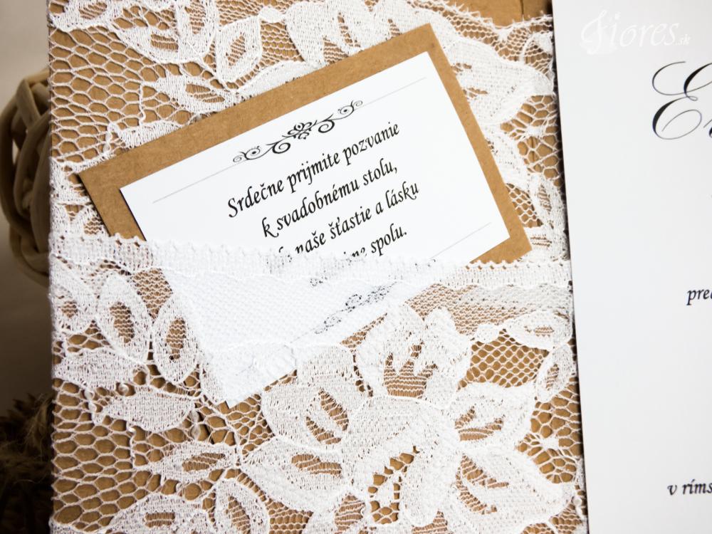 """Svadobné oznámenie """"Podmanivá čipka"""" Detail 2"""
