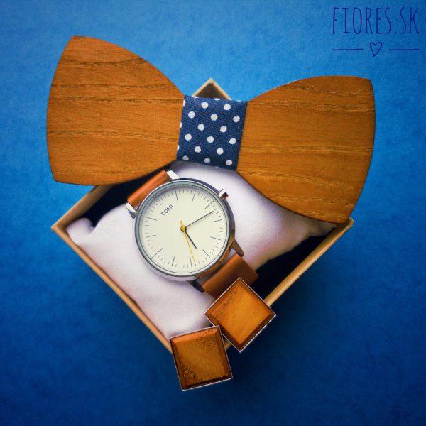 Elegantný drevený set - motýlik hodinky manžetové gombíky 2