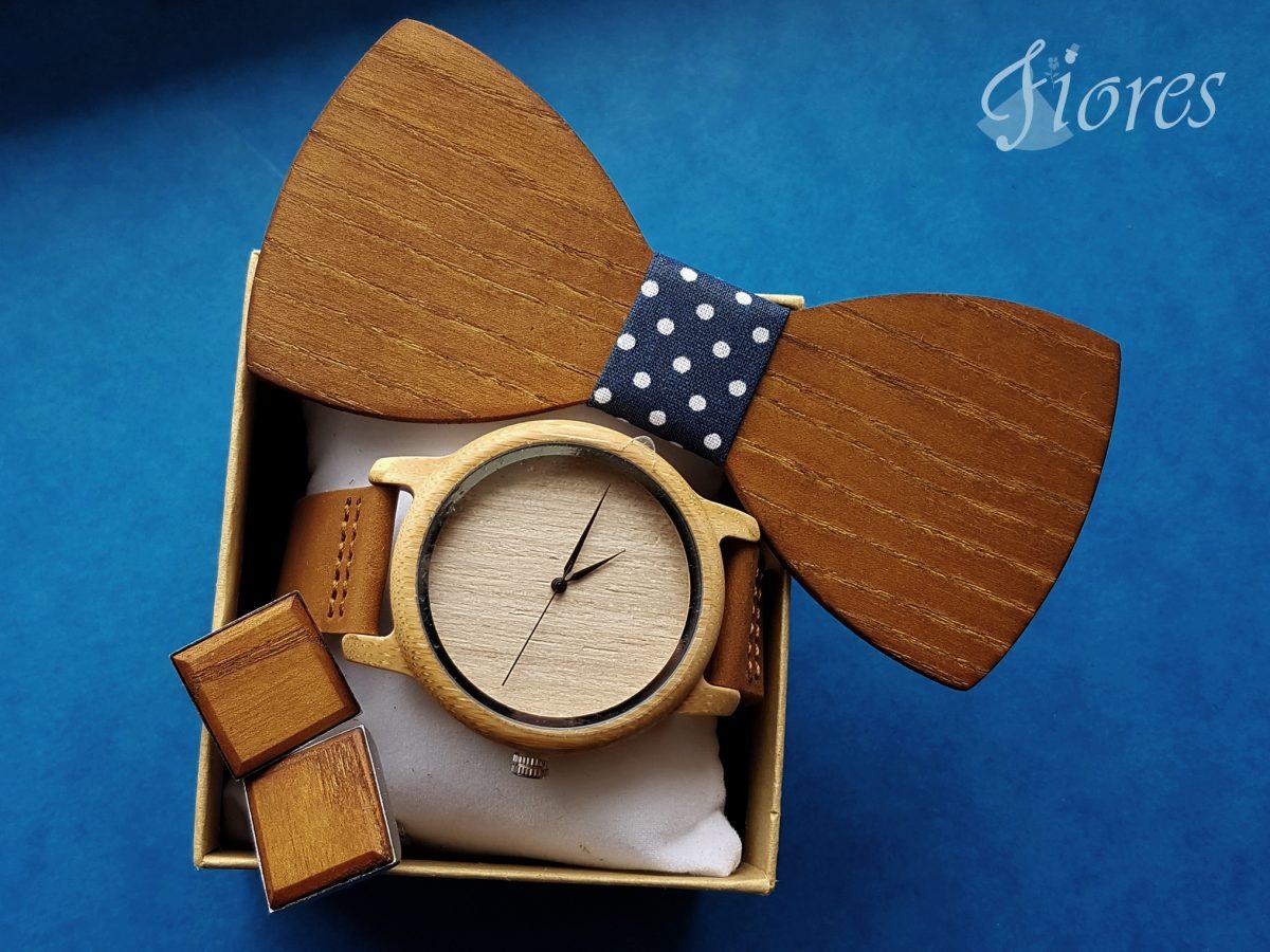 Elegantný drevený set - motýlik hodinky manžetové gombíky