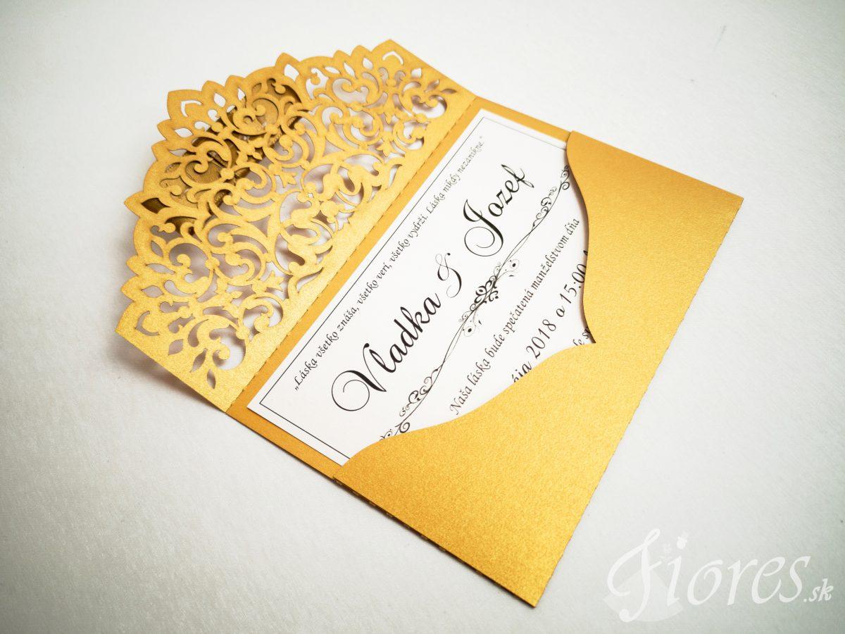 """Vyrezávané svadobné oznámenie """"Golden letter"""" - Otvorené 2"""