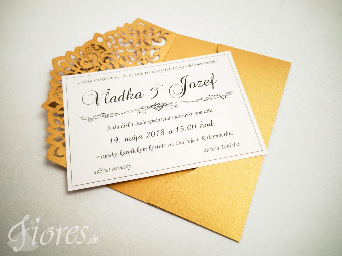 """Vyrezávané svadobné oznámenie """"Golden letter"""" - Otvorené"""