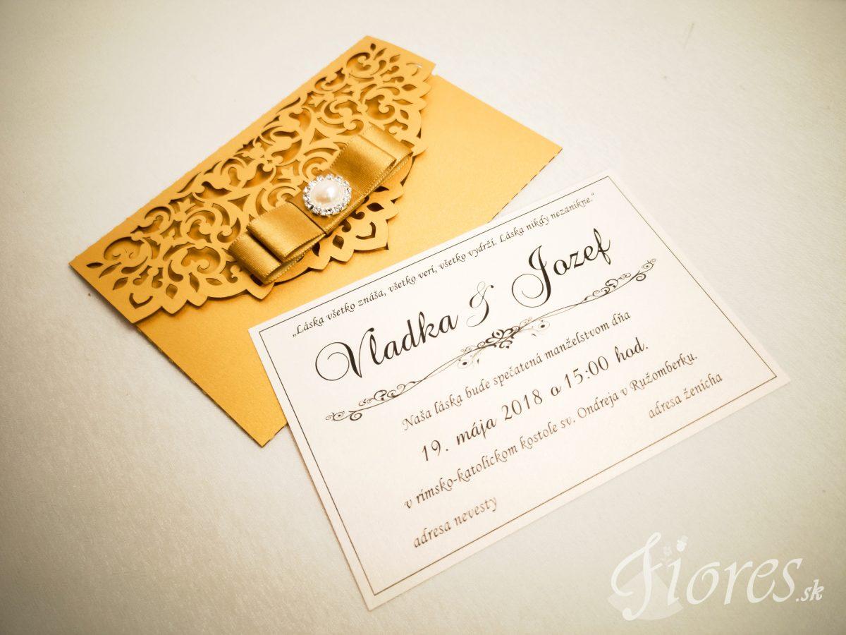 """Vyrezávané svadobné oznámenie """"Golden letter"""" - Detail 2"""