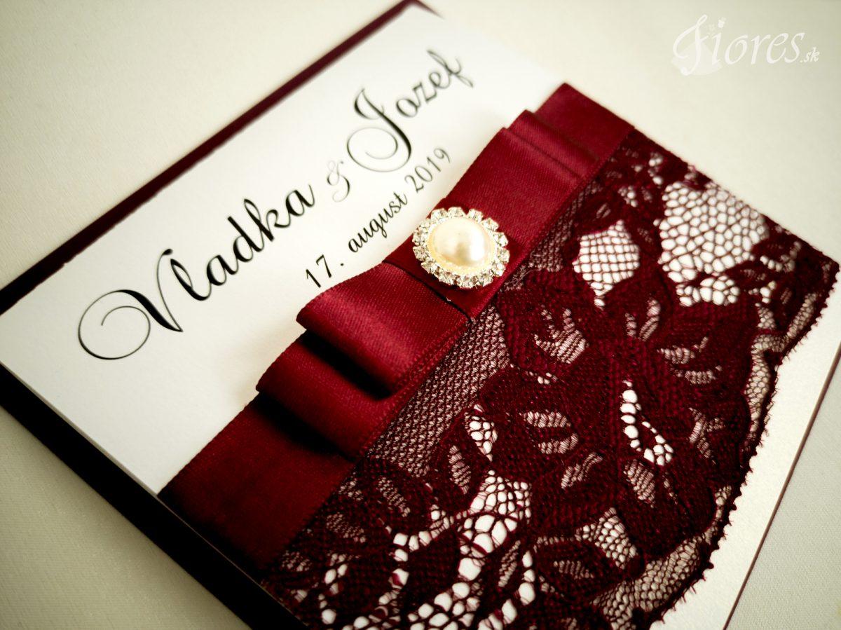 """Svadobné oznámenia """"Burgundy elegance"""" - Detail"""