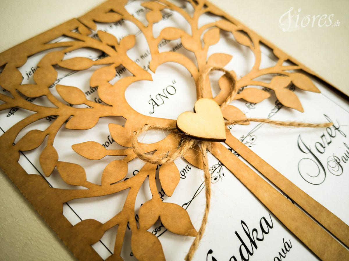 """Vyrezávané svadobné oznámenie """"Heart of tree"""" - Detail"""