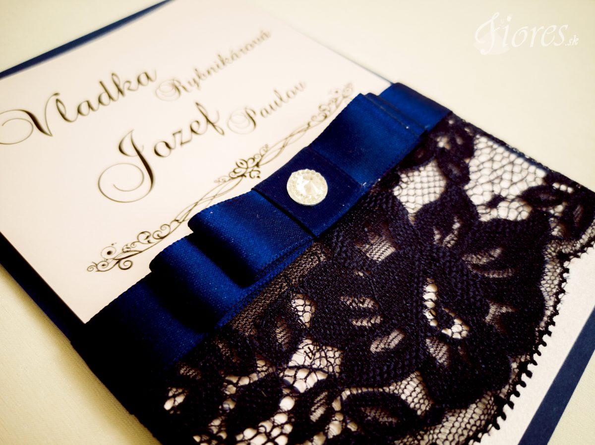 """Svadobné oznámenie """"Púdrová romantika v navy blue"""" - Detail"""