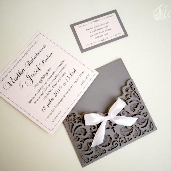 """Vyrezávané svadobné oznámenie """"Jemnosť v sivej"""" - Otvorené"""
