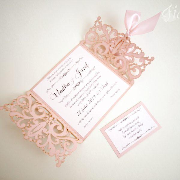 """Vyrezávané svadobné oznámenie """"Romantická ružová"""" - Otvorené"""