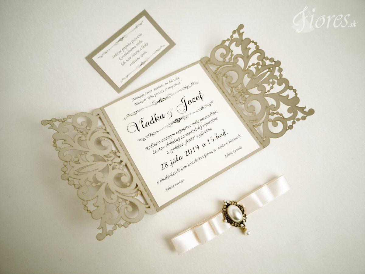"""Vyrezávané svadobné oznámenie """"Vanity pearl"""" - Otvorené"""