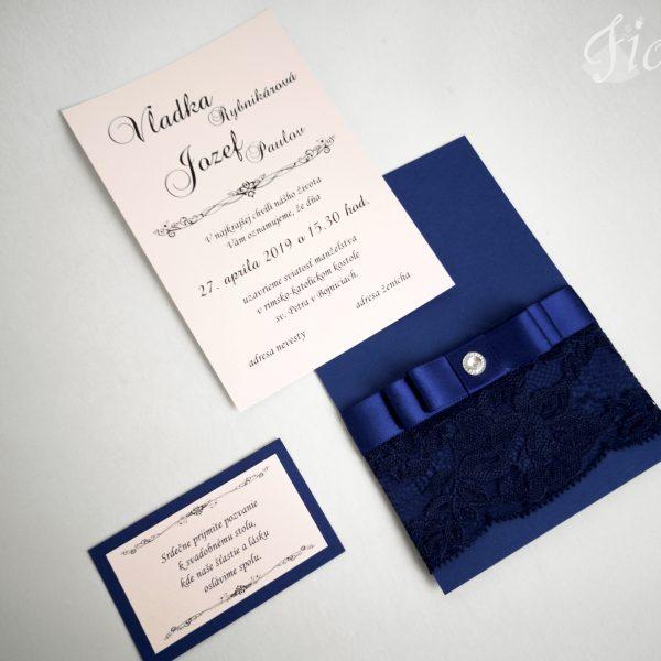 """Svadobné oznámenie """"Púdrová romantika v navy blue"""" - Otvorené"""
