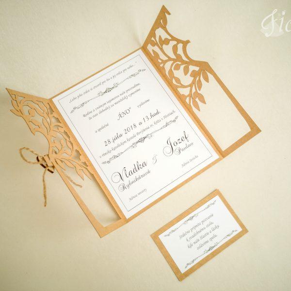 """Vyrezávané svadobné oznámenie """"Heart of tree"""" - Otvorené"""