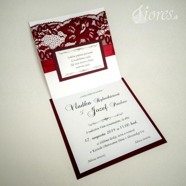 """Svadobné oznámenia """"Burgundy elegance"""" - Otvorené"""