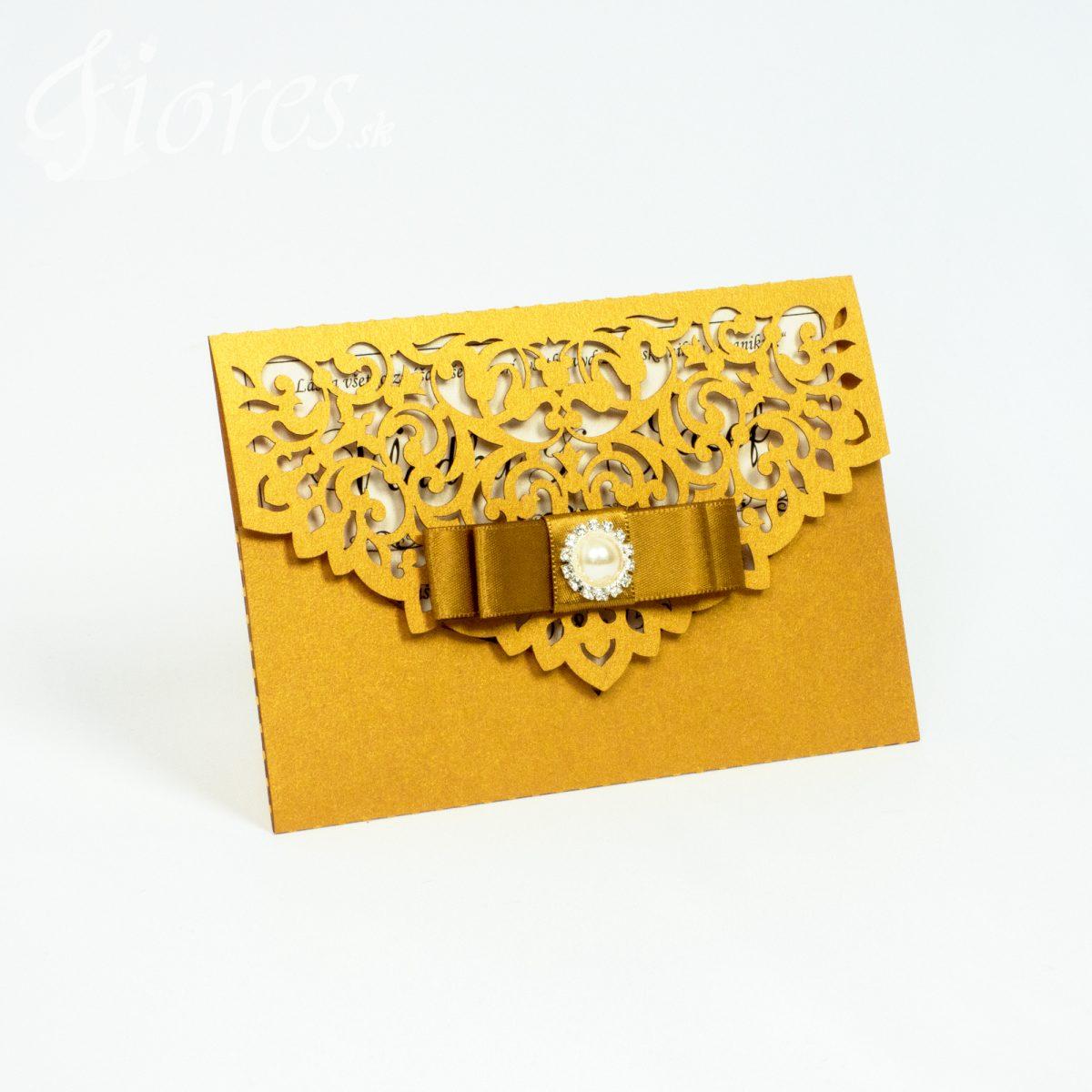 "Vyrezávané svadobné oznámenie ""Golden letter"""