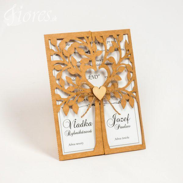 """Vyrezávané svadobné oznámenie """"Heart of tree"""""""