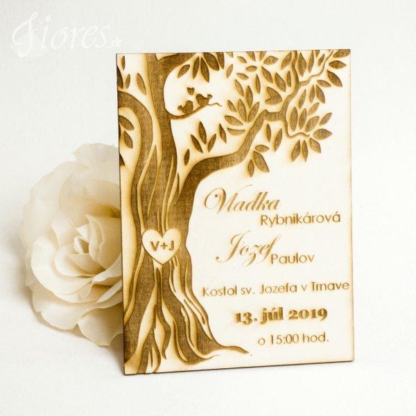 """Drevené gravírované svadobné oznámenie """"Strom"""""""
