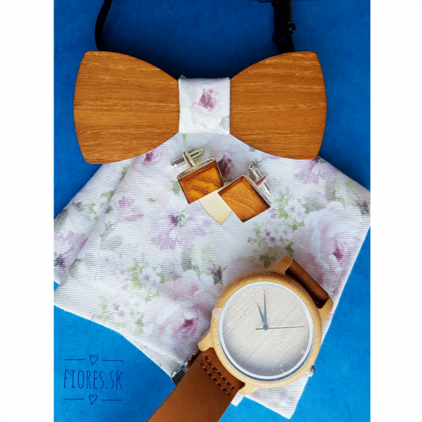 Elegantný drevený set - motýlik hodinky manžetové gombíky vreckovka 2